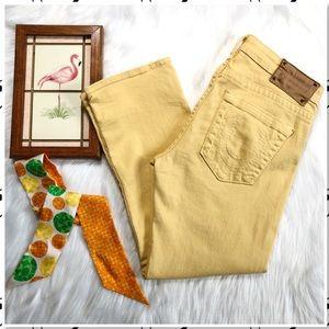 True Religion Straight Yellow Crop Stretch Jean 32